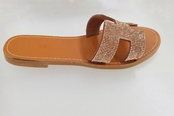 Stargazer Rose Gold Crystal Slides