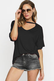 Anything But Basic Choker Cut-Out Tee