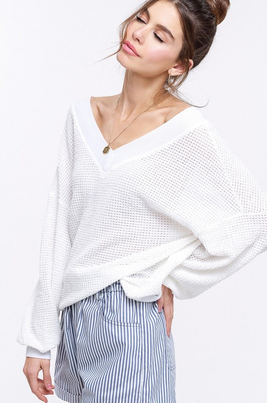 Keep Breathin Waffle Knit - White