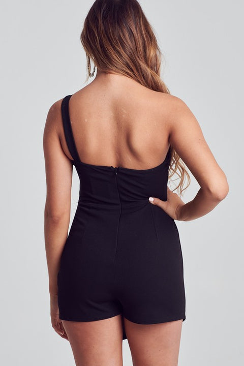 Stroke of Midnight Asymmetrical Romper
