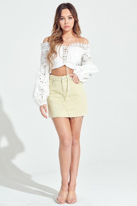 Southern Belle Eyelet Cropped Blouse - White