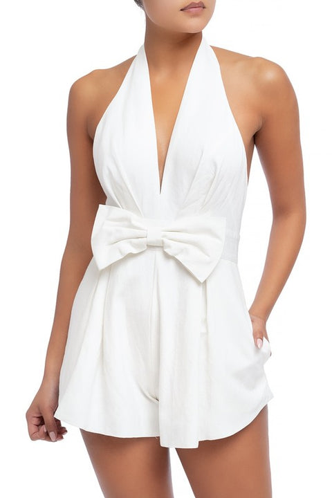 Take a Bow Halter Romper - White