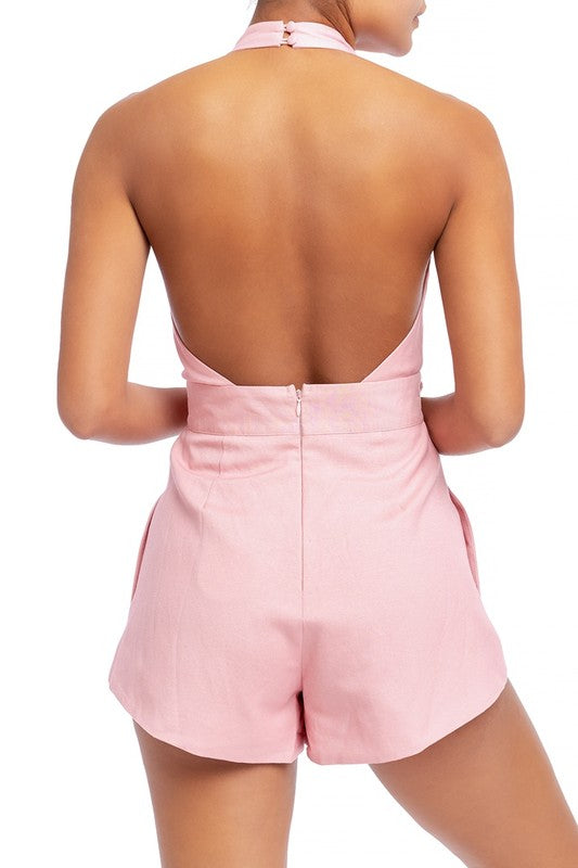 Take a Bow Halter Romper - Pink