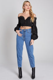 Southern Belle Eyelet Cropped Blouse - Black