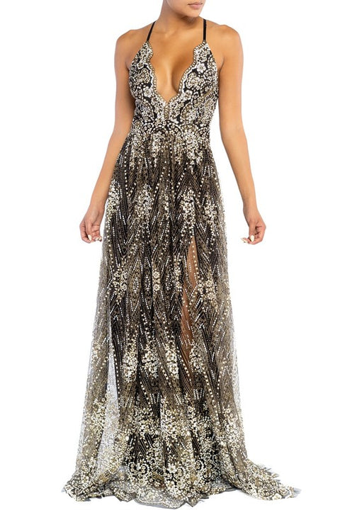 Star Gazer Glitter Maxi Gown (Black & Gold)
