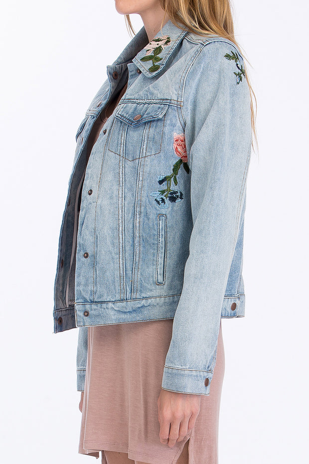 In Bloom Floral Denim Jacket - Light Wash