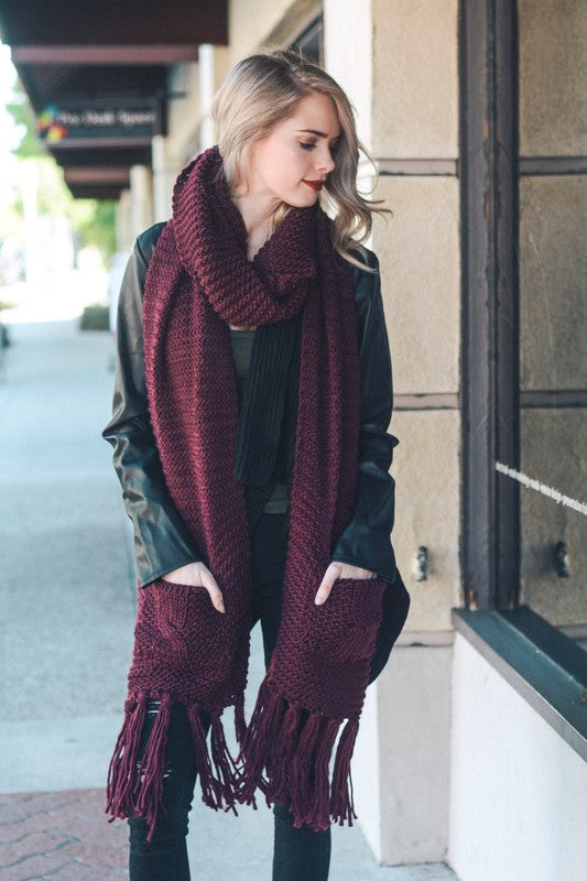 Deep Thoughts Oversized Knit Scarf with Pockets - Wine