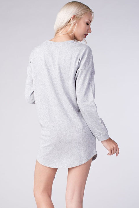 Brailyn Gray Sweatshirt Dress