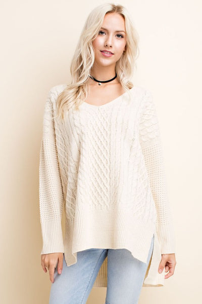 Ivory Lights Cable Knit Sweater