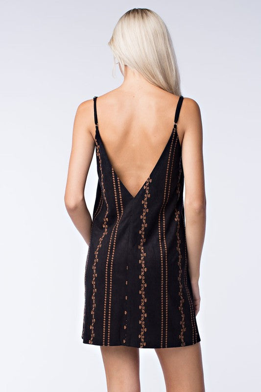 In the Moment Black Embroidered Shift Dress