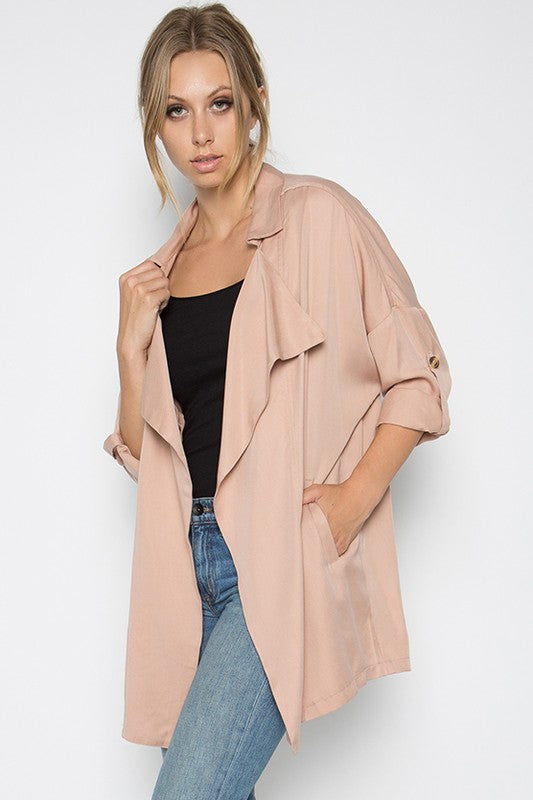 Autumn Romance Blush Oversized Jacket