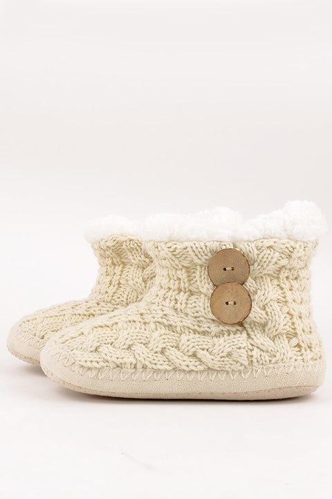 Cozy Nights Button Knit Slippers