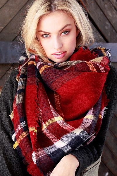 Falling for You Red Plaid Blanket Scarf