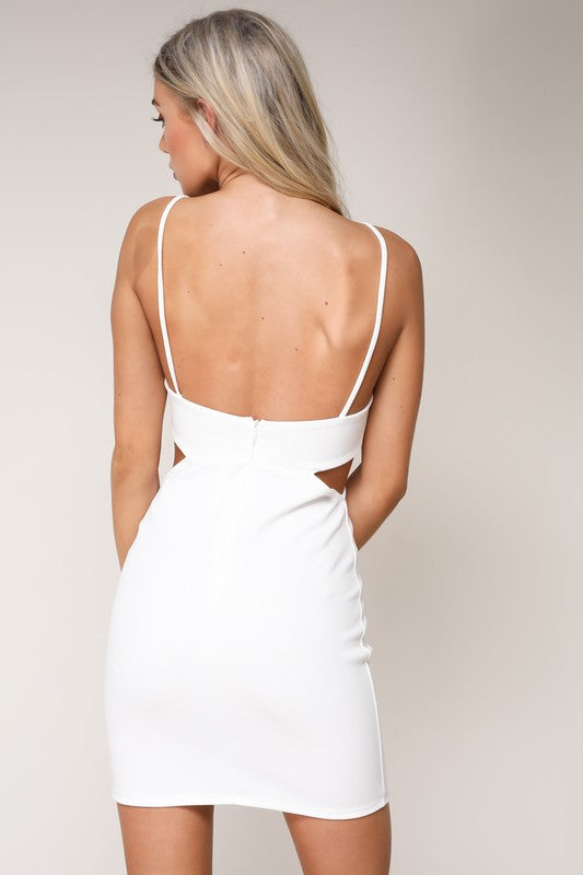 Shades of You Scalloped Bodycon Dress - White