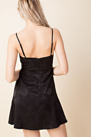Sweetly Satin Black Skater Dress