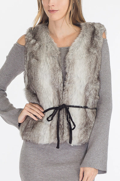 Up North Gray Faux Fur Belted Vest