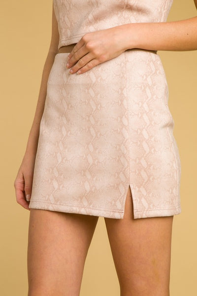 Ride or Die Blush SnakeSkin Skirt