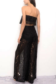 Ariana Lace Two Piece Jumpsuit - Black