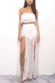 Ariana Lace Two Piece Jumpsuit - White