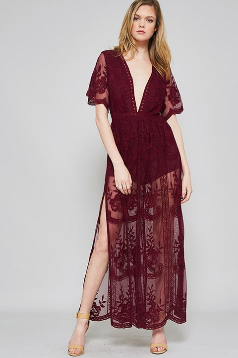 Vineyard Vibes Wine Maxi Dress