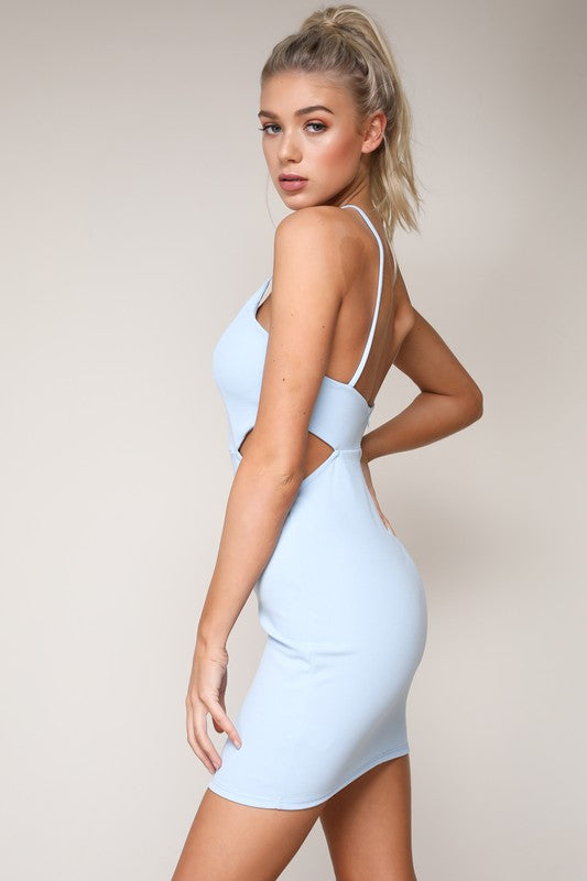 Blossomer Scallop Bodycon Dress - Periwinkle