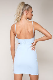 Shades of You Scalloped Bodycon Dress - Light Blue