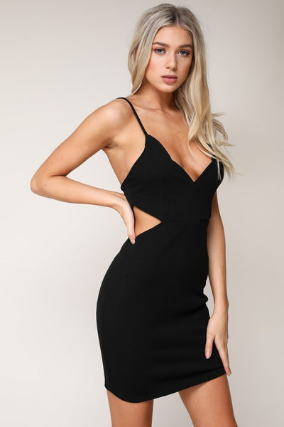 Blossomer Scallop Bodycon Dress - Black