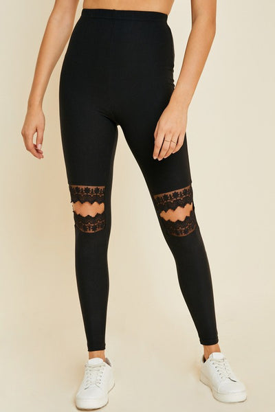 Aspen Lace Cut Out Knee Leggings
