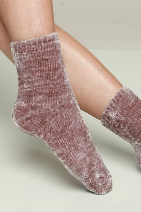 Lady Luxe Mauve Chenille Socks