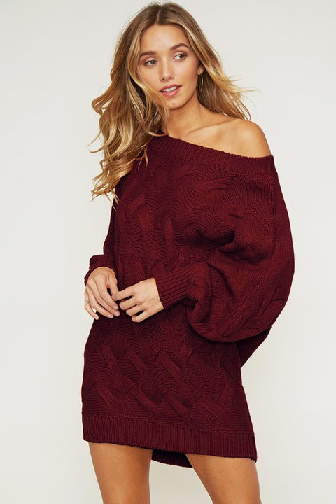 Real Love Burgundy Sweater Dress