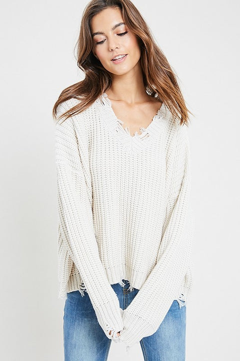 Freya Soft Distressed Sweater
