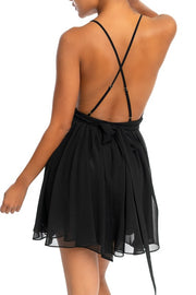 The VIP Chiffon Lace Black Mini Dress