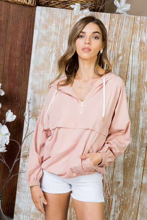 Blush About It Windbreaker with Gold Zipper