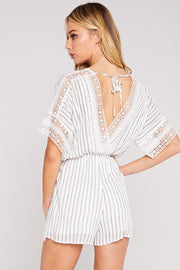 Isle of Paradise Striped Lace Romper