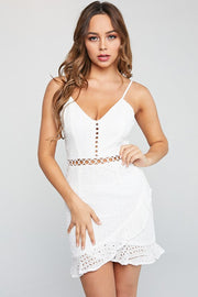 Apple of My Eyelet White Ruffle Dress