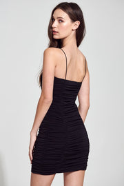 Kimberly Ruched Black Bodycon Dress