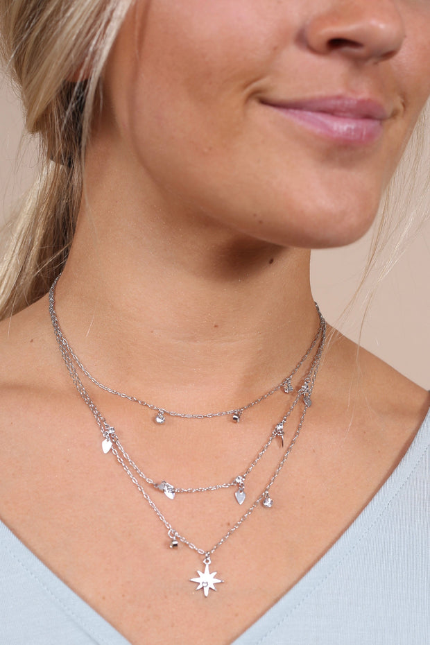 Starburst Silver Triple-Layer Necklace