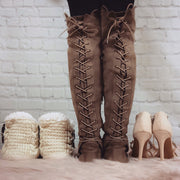 XO Taupe Lace Up Boots