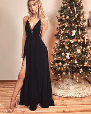 The After Party Chiffon Lace Black Maxi Gown