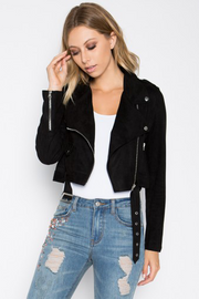 After Midnight Black Suede Moto Jacket