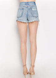 At the Crossroads High Waisted Denim Shorts