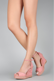 Kiss and Tell Espadrille Scallop Wedge - Dusty Pink