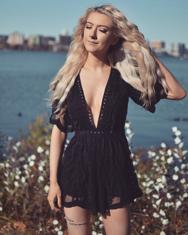 Terrace Days Black Lace Romper