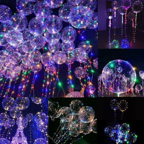 20inch Luminous Led Balloon Transparent Round Bubble Decoration Party Wedding - BeZONED