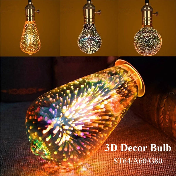 3D Led Light Bulb Decoration Bulb Holiday Fireworks Lights ST64 G80 A60 Novelty Christmas Lamp