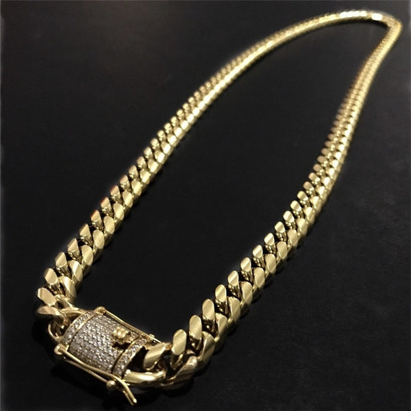1PCS Brand New The Coolest Mens Chain 18 k Gold Plated Solid Stainless Steel Bracelet and Necklace - BeZONED