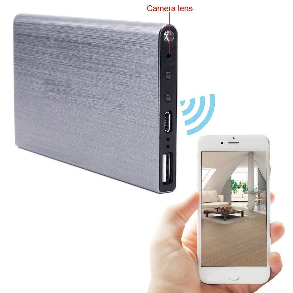 5000MA Power Bank WiFi Spy Hidden Camera Motion Detection Night Vision 1080P DVR (grey color) - BeZONED