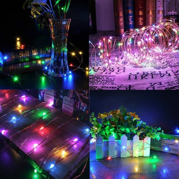 20/30/50/100 LED Battery Powered LED Copper Wire Fairy String Light Waterproof For Garden - BeZONED