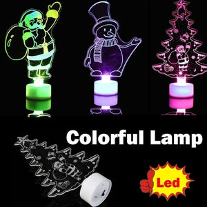2018 Christmas Snowman Multi Color LED Light Clear Acrylic Christmas Tree Mood Lamp Night
