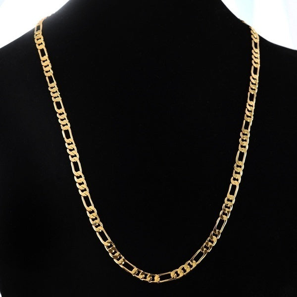 24K Gold | Platinum Plated 4.2mm Men's NK Links Figaro Chain Necklace 23.4 inches - BeZONED